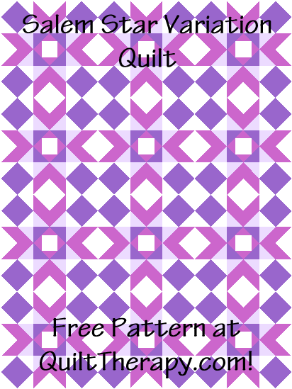"""Salem Star Variation Quilt a Free Pattern for a 36"""" x 48"""" quilt at QuiltTherapy.com!"""