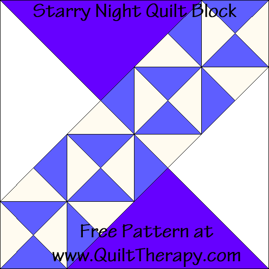 Starry Night Quilt Block Free Pattern at QuiltTherapy.com!