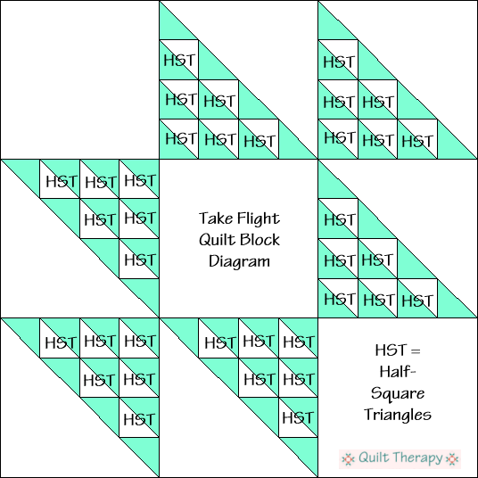 """Take Flight Quilt Block Diagram a Free Pattern for 12"""" finished quilt block at QuiltTherapy.com!"""