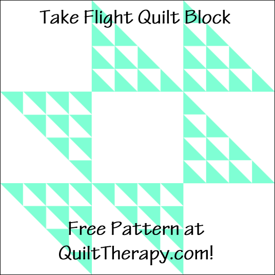 """Take Flight Quilt Block a Free Pattern for a 12"""" quilt block at QuiltTherapy.com!"""