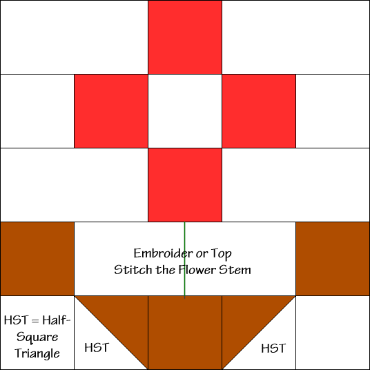 The Flower Pot Quilt Block Diagram Free Pattern at QuiltTherapy.com!