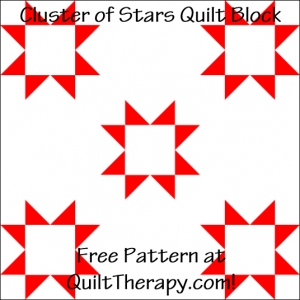 """Cluster of Stars Quilt Block Free Pattern for a 12"""" quilt block at QuiltTherapy.com!"""