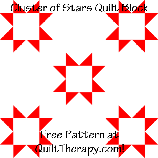 "Cluster of Stars Quilt Block Free Pattern for a 12"" quilt block at QuiltTherapy.com!"