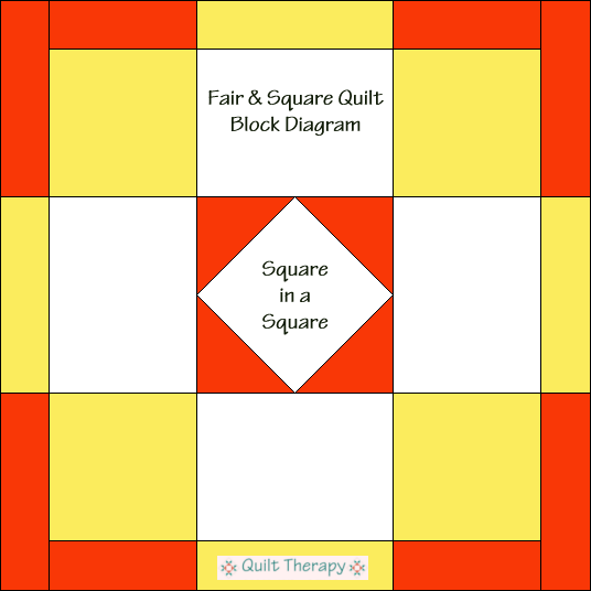 """Fair & Square Quilt Block Diagram is a Free Pattern for 12"""" finished quilt block at QuiltTherapy.com!"""