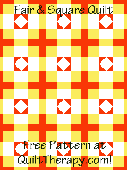 """Fair & Square Quilt is a Free Pattern for a 36"""" x 48"""" quilt at QuiltTherapy.com!"""
