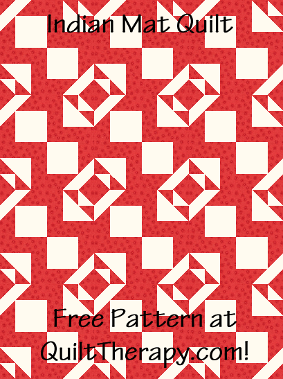 """Indian Mat Quilt is a Free Pattern for a 36"""" x 48"""" quilt at QuiltTherapy.com!"""