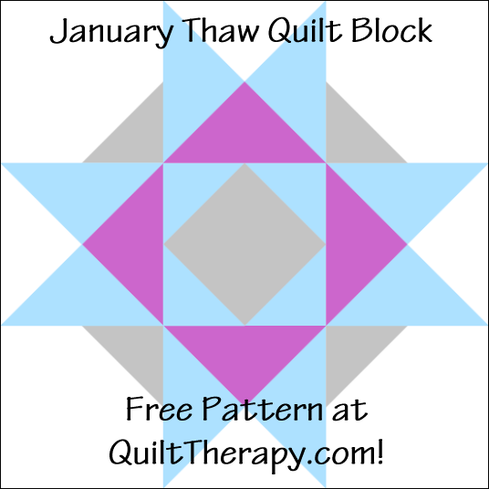 "January Thaw Quilt Block Free Pattern for a 12"" quilt block at QuiltTherapy.com!"