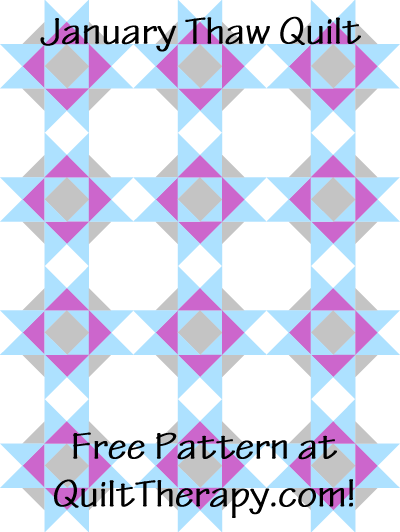 "January Thaw Quilt Block Free Pattern for a 36"" x 48"" quilt at QuiltTherapy.com!"