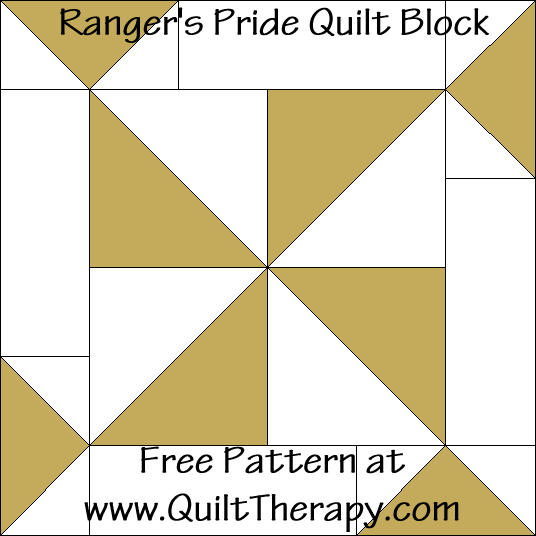Ranger's Pride Quilt Block Free Pattern at QuiltTherapy.com!