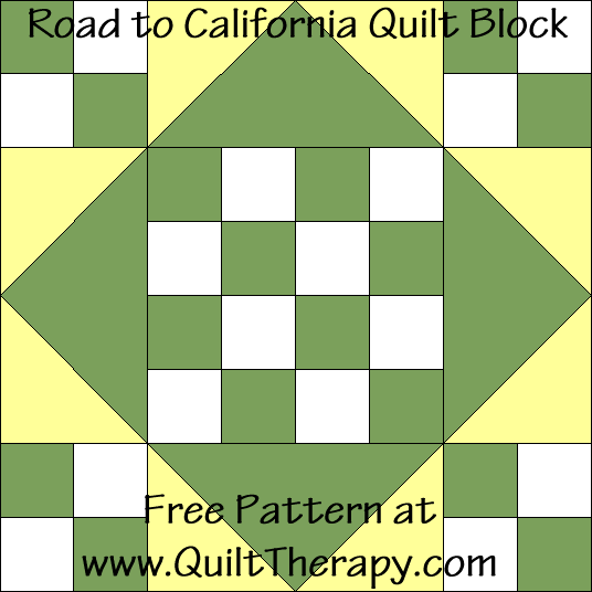 Road to California Quilt Block Free Pattern at QuiltTherapy.com!