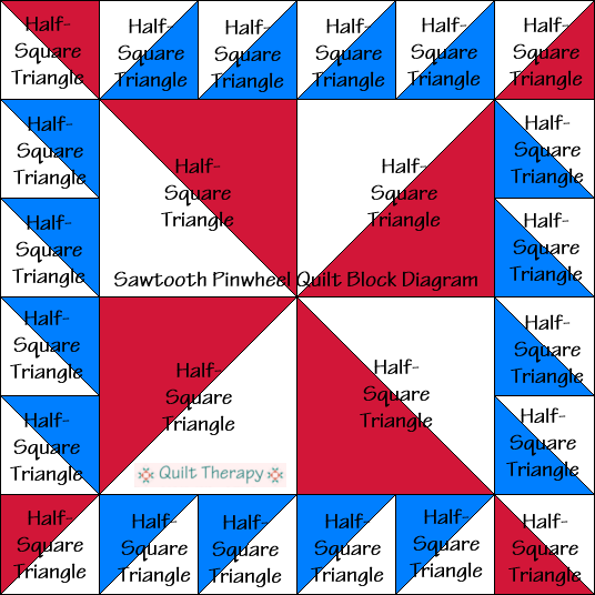 """Sawtooth Pinwheel Quilt Block Diagram is a Free Pattern for 12"""" finished quilt block at QuiltTherapy.com!"""