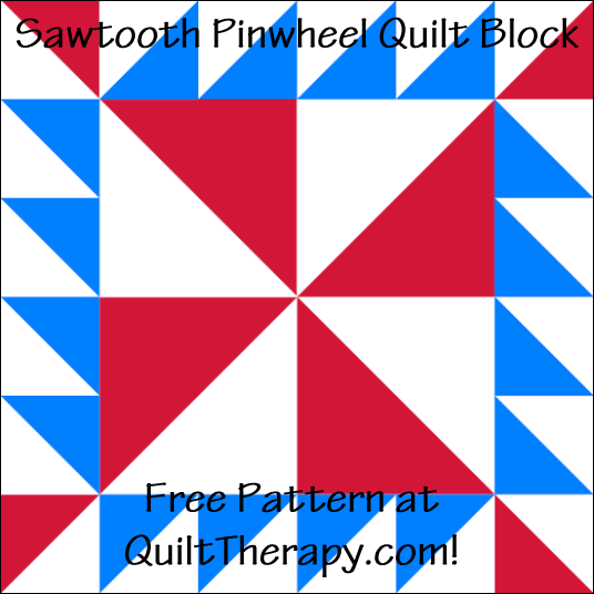 """Sawtooth Pinwheel Quilt Block is a Free Pattern for a 12"""" quilt block at QuiltTherapy.com!"""