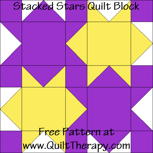Stacked Stars Quilt Block Free Pattern at QuiltTherapy.com!