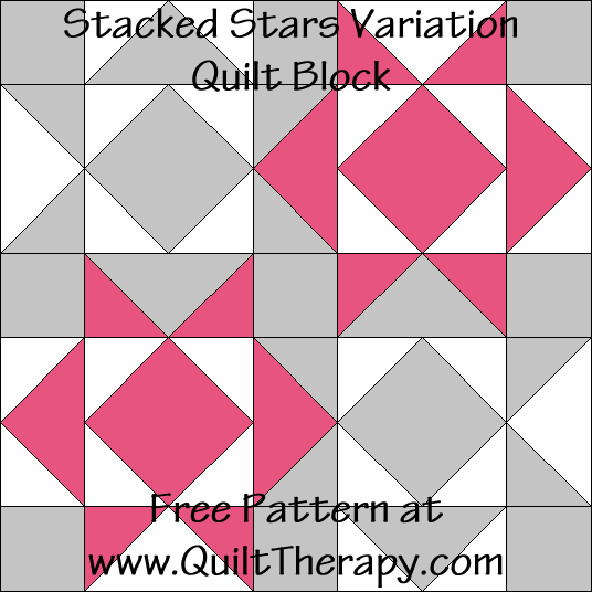 Stacked Stars Variation Quilt Block Free Pattern at QuiltTherapy.com!
