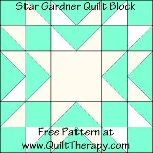 "Star Gardner Quilt Block Diagram Free Pattern for 12"" finished quilt block at QuiltTherapy.com!"
