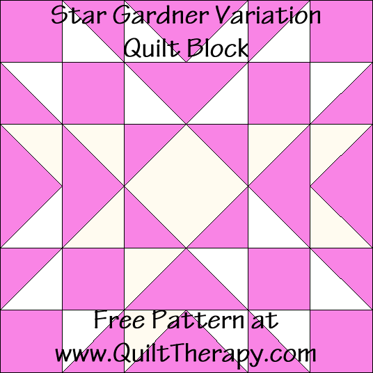 Star Gardner Variation Quilt Block Free Pattern at QuiltTherapy.com!