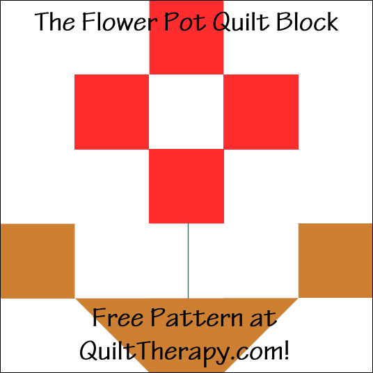 "The Flower Pot Quilt Block Free Pattern for a 12"" quilt block at QuiltTherapy.com!"