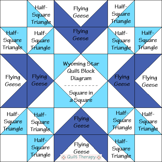 """Wyoming Star Quilt Block Diagram is a Free Pattern for 12"""" finished quilt block at QuiltTherapy.com!"""