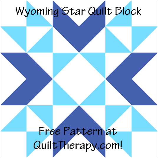 """Wyoming Star Quilt Block is a Free Pattern for a 12"""" quilt block at QuiltTherapy.com!"""