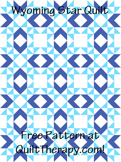 """Wyoming Star Quilt is a Free Pattern for a 36"""" x 48"""" quilt at QuiltTherapy.com!"""