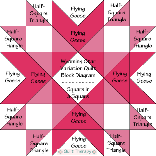 """Wyoming Star Variation Quilt Block Diagram is a Free Pattern for 12"""" finished quilt block at QuiltTherapy.com!"""