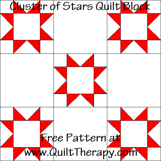 Cluster of Stars Quilt Block Free Pattern at QuiltTherapy.com!