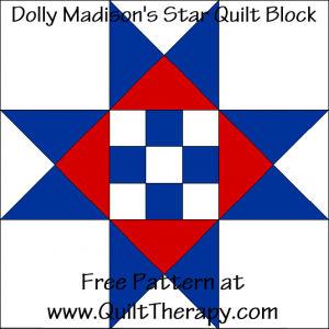 Dolly Madison's Star Quilt Block Free Pattern at QuiltTherapy.com!
