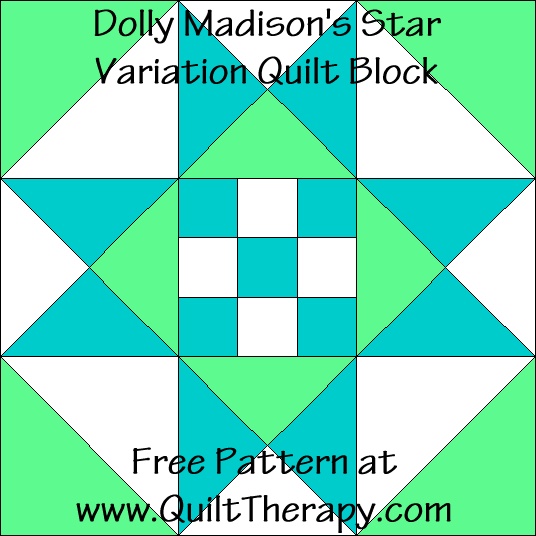 Dolly Madison's Star Variation Quilt Block Free Pattern at QuiltTherapy.com!
