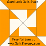 Good Luck Quilt Block Free Pattern at QuiltTherapy.com!
