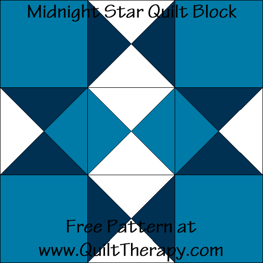 Midnight Star Quilt Block Free Pattern at QuiltTherapy.com!