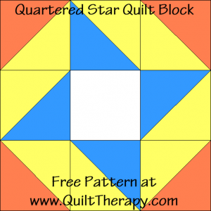 "Quartered Star Quilt Block Free Pattern for a 12"" quilt block at www.QuiltTherapy.com!"