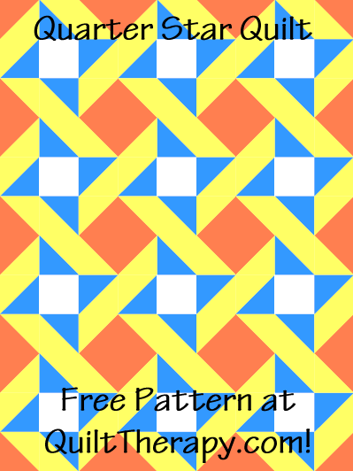 """Quartered Star Quilt Free Pattern for a 36"""" x 48"""" quilt at QuiltTherapy.com!"""