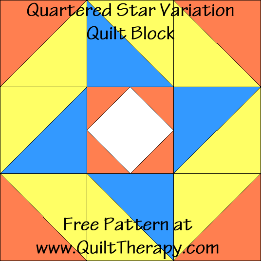Quartered Star Variation Quilt Block Free Pattern at QuiltTherapy.com!