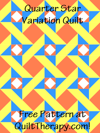 """Quartered Star Variation Quilt Free Pattern for a 36"""" x 48"""" quilt at QuiltTherapy.com!"""