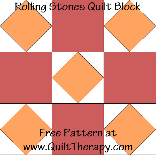 Rolling Stones Quilt Block Free Pattern at QuiltTherapy.com!