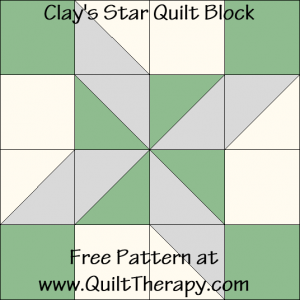 Clay's Star Quilt Block Free Pattern at QuiltTherapy.com!