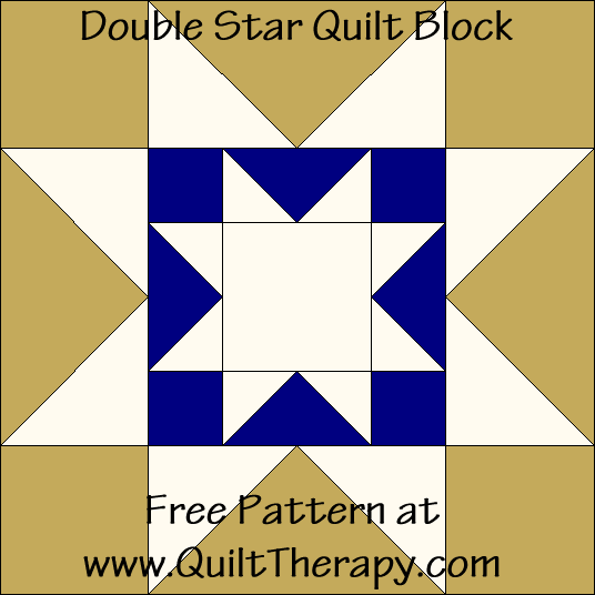 Double Star Quilt Block Free Pattern at QuiltTherapy.com!
