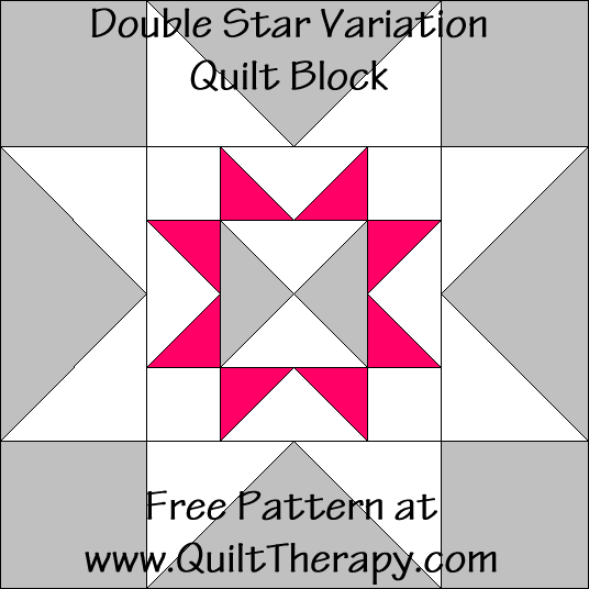 Double Star Variation Quilt Block Free Pattern at QuiltTherapy.com!