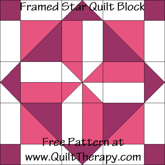 Framed Star Quilt Block Free Pattern at QuiltTherapy.com!