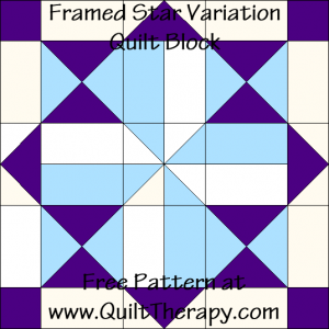 Framed Star Variation Quilt Block Free Pattern at QuiltTherapy.com!
