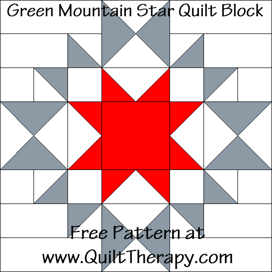 Green Mountain Star Quilt Block Free Pattern at QuiltTherapy.com!