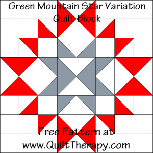 Green Mountain Star Variation Quilt Block Diagram Free Pattern at QuiltTherapy.com!