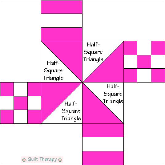 Lady of the White House Quilt Block Diagram Free Pattern at QuiltTherapy.com!
