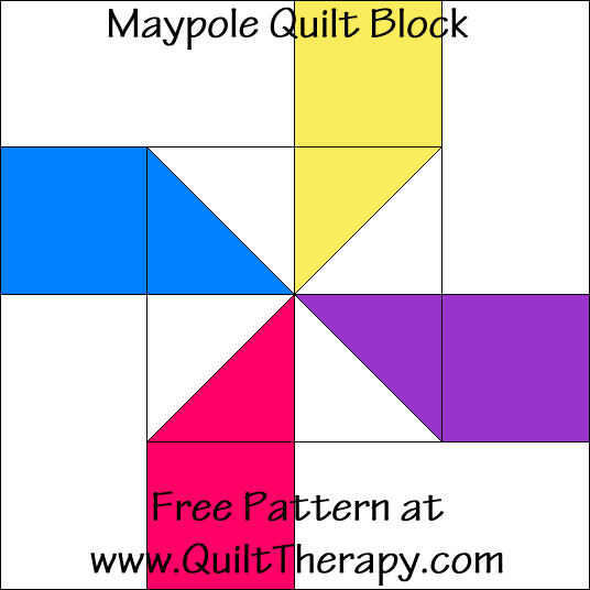 Maypole Quilt Block Free Pattern at QuiltTherapy.com!