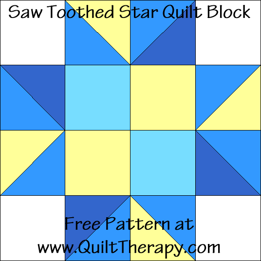 Saw Toothed Star Quilt Block Free Pattern at QuiltTherapy.com!
