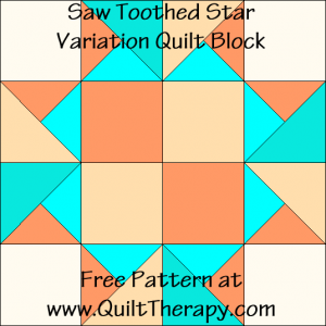 Saw Toothed Star Variation Quilt Block Free Pattern at QuiltTherapy.com!