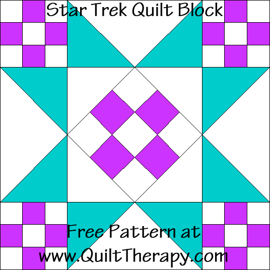 Star Trek Quilt Block Free Pattern at QuiltTherapy.com!