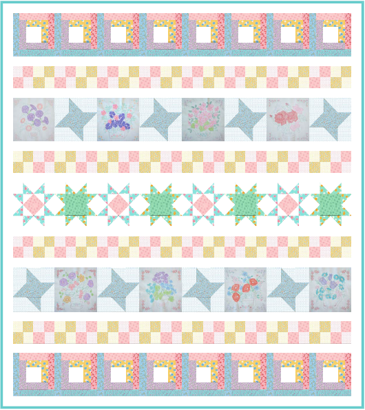 Windowsill Wonders 2018 Row of the Month Quilt from BOMquilts.com, designed by TK Harrison