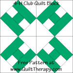 4-H Club Quilt Block Free Pattern at QuiltTherapy.com!