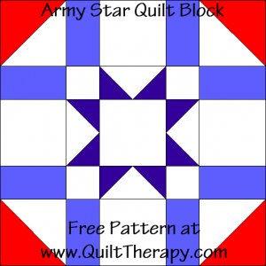 Army Star Quilt Block Free Pattern at QuiltTherapy.com!